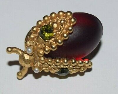 Vintage Ruby Jelly Belly Lady June Bug Mini Brooch Pin Rhinestones Faux Pearls