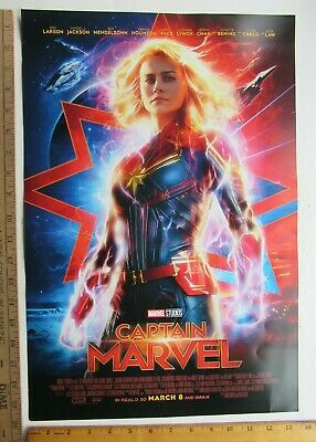 3- Captain  Marvel Poster Double Sided Brie  Larson Actress 2019