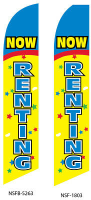 RENTALS Yellow Red Rent Me Swooper Flag Tall Feather Bow Flutter Banner Sign