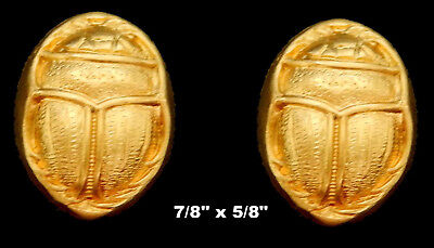 Vintage Brass Stamping / Embossed Scarab /Egyptian Revival /2 Pcs.