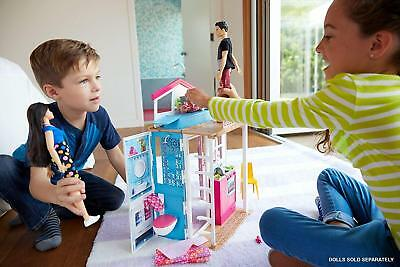 Barbie House 2 Story Portable Doll House Girls Bedroom Friends Dolls Furniture