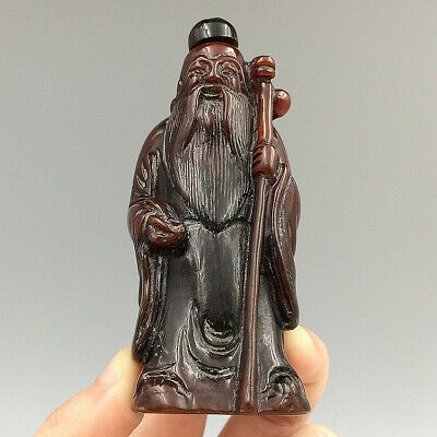 Hand Carved Elderly God Natural Ox Horn Statue Snuff Bottle Exquisite Figurines