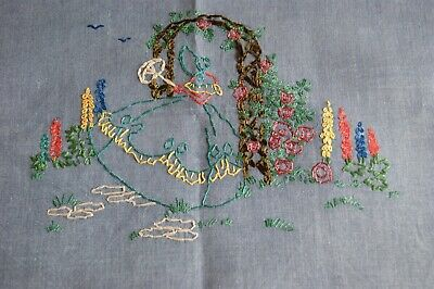 VINTAGE TABLECLOTH HAND EMBROIDERED with CRINOLINE LADY & FLOWERS Blue Linen T82