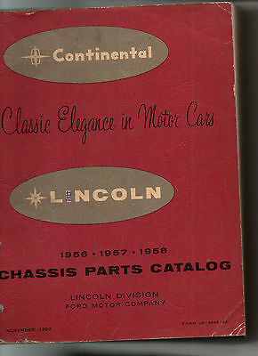 CONTINENTAL    LINCOLN 1956  1957  1958   parts catalog