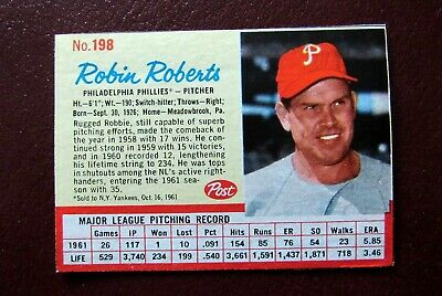 1962 Post Cereal Robin Roberts Baseball Card 198 Near Mint Condition