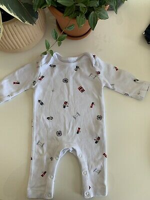 The Little White Company London Teddy Print Sleepsuit Newborn New £16
