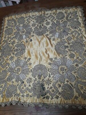 ANTIQUE TURKISH OTTOMAN HAND EMBROIDERED SILVER BULLION 19th CENTURY TABLE CLOTH