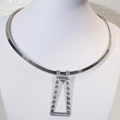 Vintage silver tone torc collar necklace banded trapezoid pendant necklace
