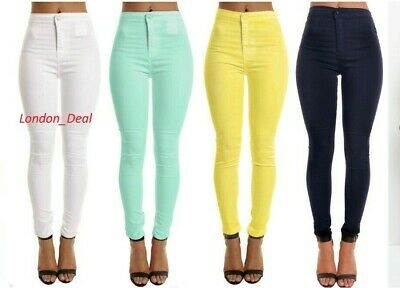 Women's Ladies High Waisted Skinny stretchy pencil Tube Jeans Jegging pants