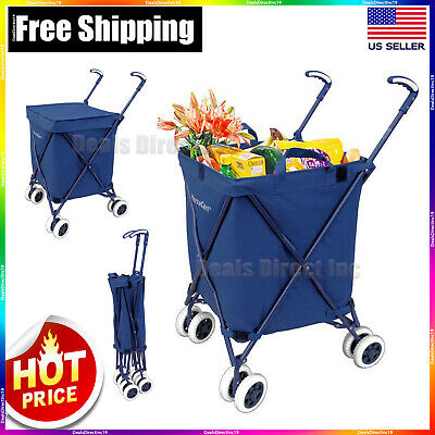 Folding Shopping Cart With Wheels Utility Wagon Trolley Heavy Duty - VersaCart