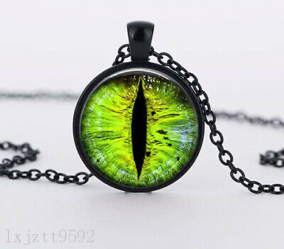 Green eyes Charm Glass Dome Cabochon Black Chain Necklace Pendant Jewelry (WC150
