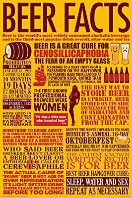 Beer Facts (Yellow) 36x24 Home Brew Man Cave Art Print Poster