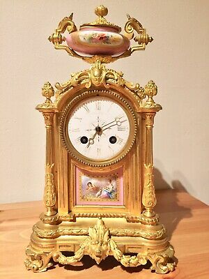 Beautiful Antique French Gilt Bronze Serves Pink Porcelain Clock By Japy.c1880
