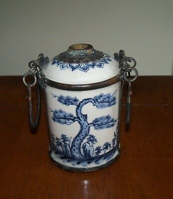 Antique Oriental Chinese Blue White Pottery Brass Mounted Opium Jar Pot Vessel
