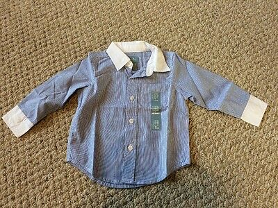 New w/Tags*GAP Baby/Infant Boy's Blue Striped Dress Shirt w/Collar in Size 12-18
