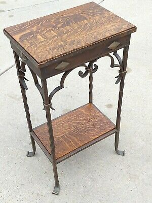 Antique Wrought Iron Gothic Mission Style Console Hall Table