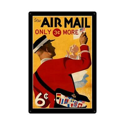 VINTAGE STYLE METAL SIGN Aviation Air Mail Postage Stamp  24 x 36