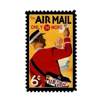 VINTAGE STYLE METAL SIGN Aviation Air Mail Postage Stamp  15 x 24