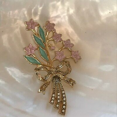 Vintage Pink & Green Enamel Small Flower Bouquet with Tiny Seed Pearl Accents in