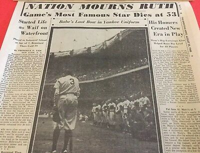 """Babe Ruth  """"NATION MOURNS RUTH""""  The Sporting News Special Insert; Aug 25, 1948"""