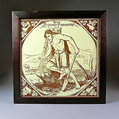 "19th C 7.5"" Biblical Tile Murray Maw & The Hidden Treasure Parable New Testament"