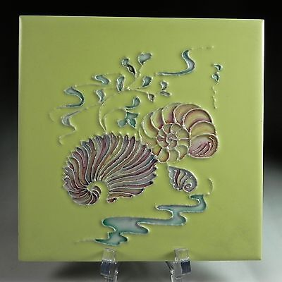 Pilkington's Ceramic  Art Tile c1960 Shells & Seaweed Yellow Pink Aqua