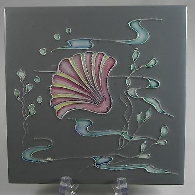 Pilkington's Ceramic Art Tile c1960 Shells & Seaweed Rare Slate Grey Pink