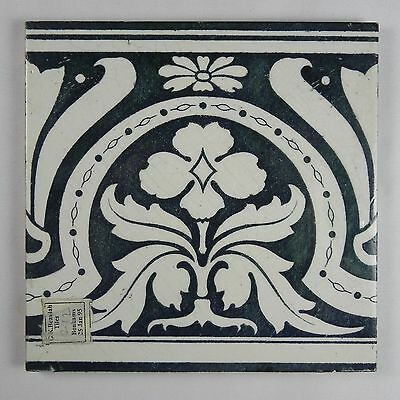 Antique Glazed Tile Lea Tunstall Bonhams Beaulah Author's Estate Floral Dk Green