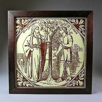 "19th C Framed Biblical 7.5"" Tile Murray Maw & Co Barren Fig Tree Parables"