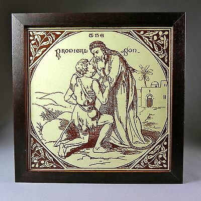 "19th C Framed 7.5"" Tile Murray Maw Prodigal Son New Testament Parables Biblical"