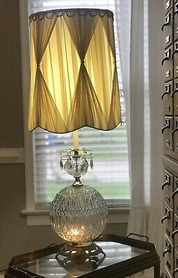 Hollywood Regency Glass Globe 3 Way Table Lamp EF-EF 1973 Mid Century Crystals