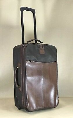 """Coach Brown Leather & Nylon 22"""" Upright Roller Carry On Suitcase Luggage"""