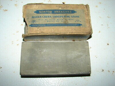 Vintage Norton Abrasives Queer Creek Sharpening Stone Razor Hone In Box Troy, NY