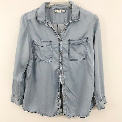 CATO Womens Plus Size Top 18/20W Chambray Style Long Sleeve Button Down
