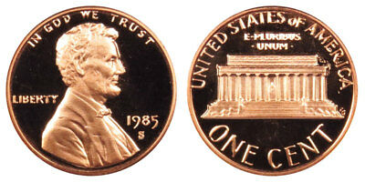 1985 S GEM BU PROOF Lincoln Memorial BRILLIANT UNCIRCULATED PENNY US COIN PF