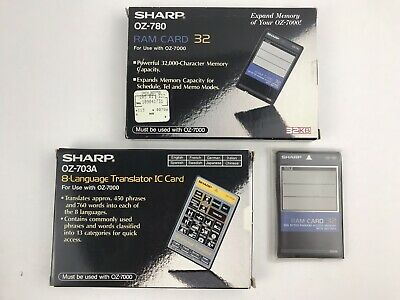 Sharp Wizard PDA Organizer IC Cards (1) OZ-703A and (2) OZ-780 RAM Card Lot