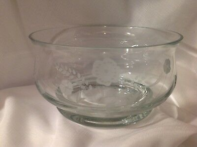 Glass Bowl Lrg. w/Etched Floral Design
