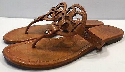 63b80cf1a Tory Burch Miller Orange Tumbled Leather Thong Sandal Flats Sz 8 M