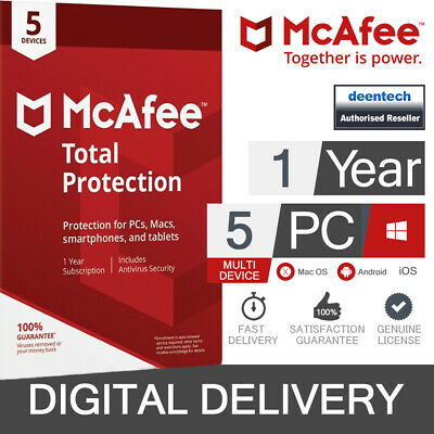 McAfee Total Protection 2019 (5 User) Multi Device PC/Mac Genuine License Key