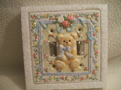 """Light Switch Plate Double Baby Or Child Bear W/Blue Bow Pink Flowers 6 """" X 6 """""""