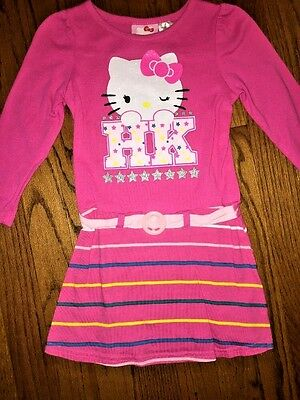 HELLO KITTY Glitz NEARLY NEW Glamour Stripe Belt WINKING KITTY DRESS Girls Sz 3T