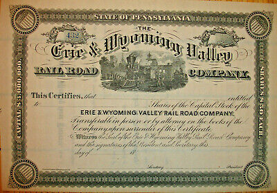 Erie /& Wyoming Valley Railroad Company Stock Certificate Pennsylvania