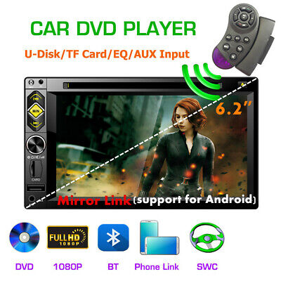 """6.2"""" 2 DIN Car DVD Player Stereo Radio SWC Bluetooth Mirror Link(Android) 2019"""