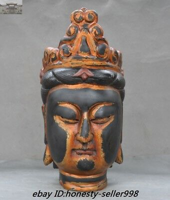 """19"""" Old China Temple lacquerware wood carved Guanyin Kwan-yin Buddha Head Statue"""