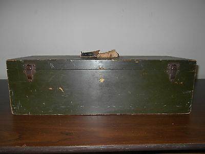 Antique Vintage Old Wood Wooden Tool Box With Old Green Paint