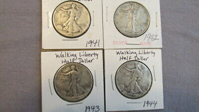 4 US Walking Liberty Half Dollars Silver 1941, 1942S, 1943, 1944 M30