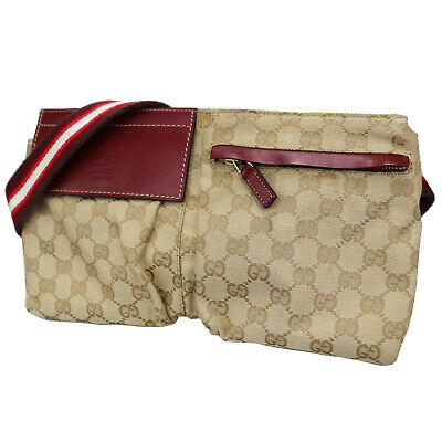 75bf83924b3 GUCCI GG Canvas Fanny Pack Waist Pouch Bag Beige Red Vintage Authentic  U31  Z