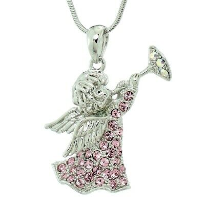 Angel Guardian Necklace Made With Swarovski Crystal Trumpet Pink Pendant