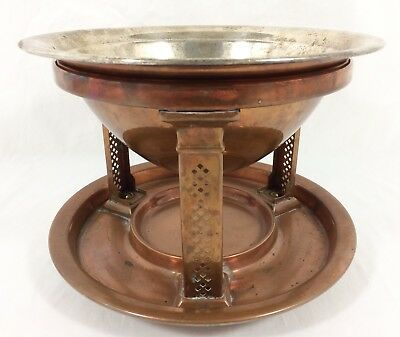 Arts & Crafts Copper Silverplate Bowl w/ 3 Footed Copper Stand circa 1910 RARE!