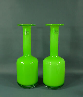 """2 LSA Lime Green Vases Handcrafted Mouth Blown Cased Glass Made in Poland 12.5"""""""